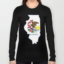 Illinois with Illinois State Flag Long Sleeve T-shirt