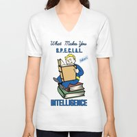 fallout 3 V-neck T-shirts featuring Intelligence S.P.E.C.I.A.L. Fallout 4 by sgrunfo