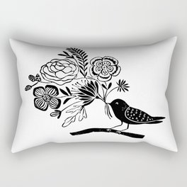Linocut black an white bird with botanical floral nature printmaking art Rectangular Pillow
