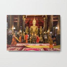 Monks at Work in the Temple II - Luang Prabang, Laos Metal Print