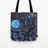 arabic Tote Bags featuring arabic fractal by erosione