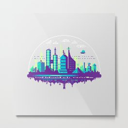 Futuristic City Pixel Art Metal Print