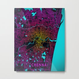 Chennai City Map of India - Neon Metal Print
