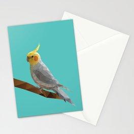 Yellow Cockatiel Bird Polygon Art Stationery Cards