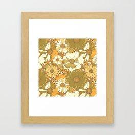 Brown, Orange, Ivory & Green Vintage Flower Pattern Framed Art Print