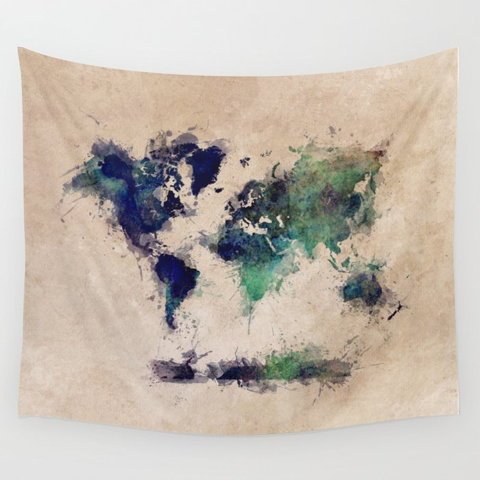 World Map splash raf Wall Tapestry