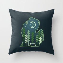 Michigan Camping - Summer Throw Pillow