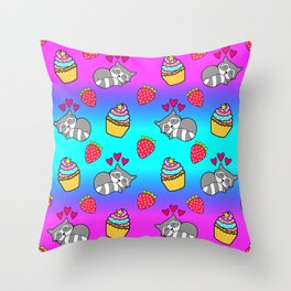 Cute happy sleeping dreaming Kawaii baby raccoon, sweet red summer strawberries and colorful rainbow yummy cupcakes cartoon design. Nursery decor. Throw Pillow