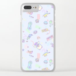 Retro Girl (Blue) Clear iPhone Case