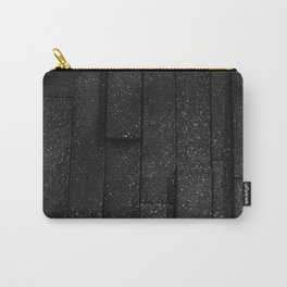 white speckled contrasted bricks - black and white Carry-All Pouch