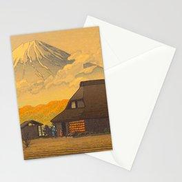 Vintage Japanese Woodblock Print Sepia Japanese Farm Mount Fuji Farmer Stationery Cards