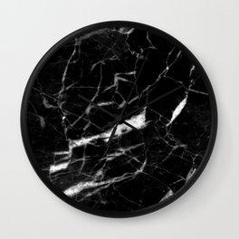 modern chic minimalist abstract black marble Wall Clock