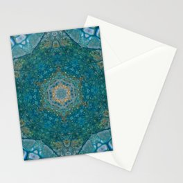 Blue Gold Star Mandala - Abstract Art by Fluid Nature Stationery Cards