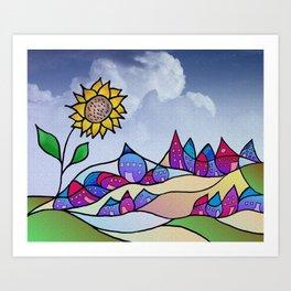 my little village and its sun -4- Art Print