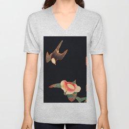 Ito Jakuchu - Swallow and Camellia Unisex V-Neck
