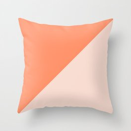 Bright Orange & Nude pink - oblique Throw Pillow