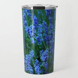 Glowing Blue Floral Travel Mug