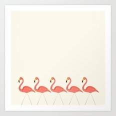 Flamingo Lineup Art Print