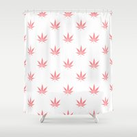cannabis Shower Curtains featuring Peachy Cannabis Pot Leaf Pattern by Directapparelco