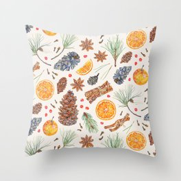 Spiced Orange and Pine Throw Pillow