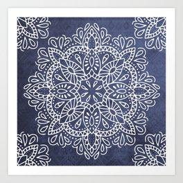 Mandala Vintage White on Ocean Fog Gray Kunstdrucke