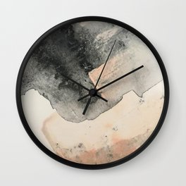 Peace and Quiet [2]: a pretty, minimal abstract piece in gray and peach by Alyssa Hamilton Art Wall Clock