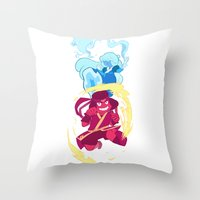 the last airbender Throw Pillows featuring Steven Universe x Avatar The Last Airbender by Matereya