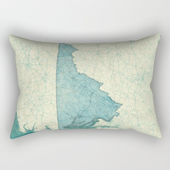 Virginia State Map Blue Vintage Rectangular Pillow