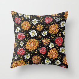 Roses and Marigolds Throw Pillow