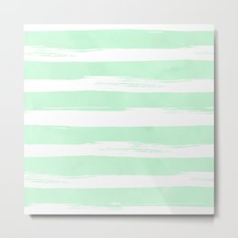 Stripes Mint Green and White Metal Print
