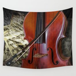 Cello with Bow a Stringed Instrument with Classical Sheet Music Wall Tapestry