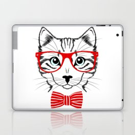 Hipster Cat with Red Glasses Laptop & iPad Skin