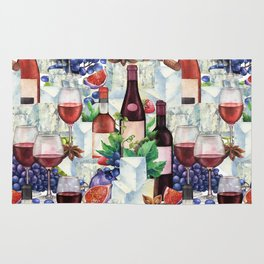 Watercolor wine glasses and bottles decorated with delicious food Rug