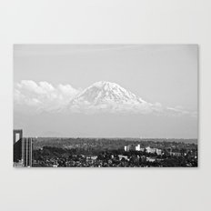 Hovering Mt Rainier in Mono Canvas Print