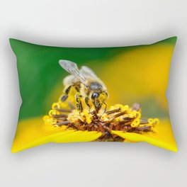 A bee on the flower Rectangular Pillow