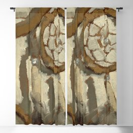 Still Life Impressionist Oil Painting of Native American Dreamcatcher in Brown, White and Grey Blackout Curtain