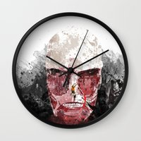 shingeki no kyojin Wall Clocks featuring The Hunter and The Pig by icantusechanwei