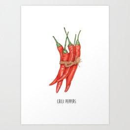 Chili Pepper - Kitchen Poster - Red Pepper Decor - Illustration wall Art -  Wall Art - kitchen Art Art Print