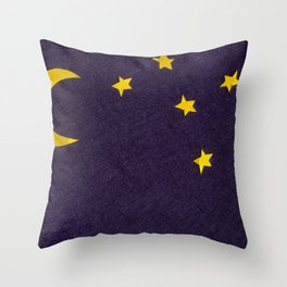 Sky with moon and stars over dark background Throw Pillow