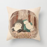 snorlax Throw Pillows featuring Best Friends Forevah by Najmah Salam