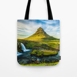Triple waterfalls of Kirkjufell in Iceland I Tote Bag