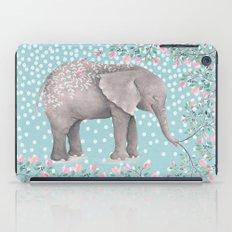 Beautiful Elephant with flowers on dots backround-Animal, flower, dot iPad Case