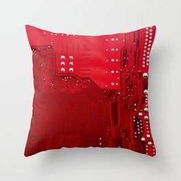 red electronic circuit board Throw Pillow