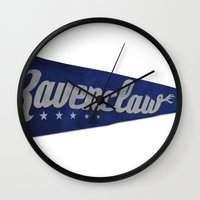 ravenclaw Wall Clocks featuring Ravenclaw 1948 Vintage Pennant by Andy Pitts