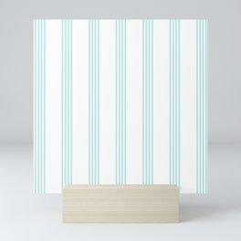 Striped I - Turquoise stripes on white - Beautiful summer pattern Mini Art Print