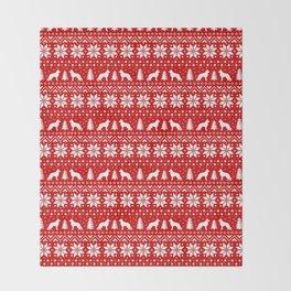German Shepherd Dog Silhouettes Christmas Sweater Pattern Throw Blanket