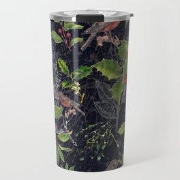 Christmas Botanical with Dark Background Travel Mug