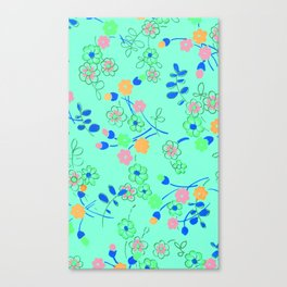Fashion Textail Floral Print Design, Flower Allover Pattern Canvas Print