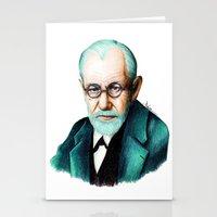 freud Stationery Cards featuring SIGMUND FREUD by Coco Dávez