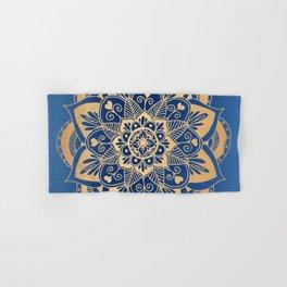 Blue and Gold Flower Mandala Hand & Bath Towel